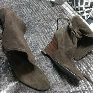 Women Suede Wedge Heel Boots
